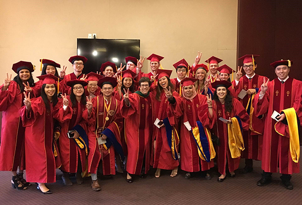PhD candidates with Dean Mosqueda.