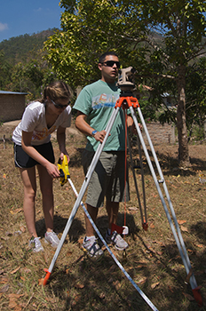 Enginnering students survey land in Honduras.