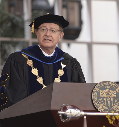 This photo is of USC President C. L. Max Nikias.