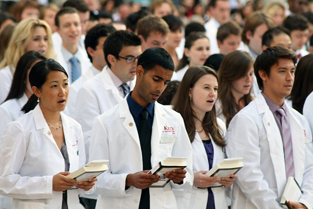 Students participate in the White Coat Ceremony.